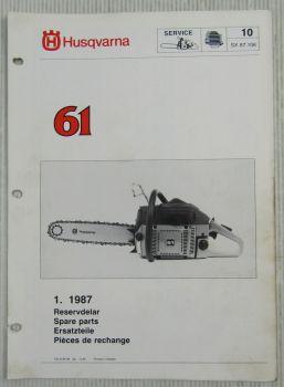 Husqvarna 61 Kettensäge Motorsäge Ersatzteilbild-Katalog Parts List 1/1987