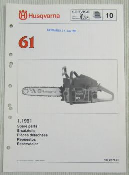 Husqvarna 61 Kettensäge Motorsäge Ersatzteilbild-Katalog Parts List 1/1991