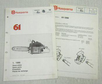 Husqvarna 61 Kettensäge Motorsäge Ersatzteilbild-Katalog Parts List 1/1986