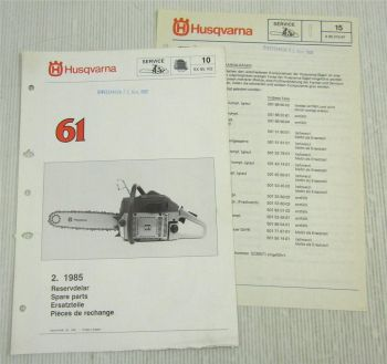 Husqvarna 61 Kettensäge Motorsäge Ersatzteilbild-Katalog Parts List 2/1985