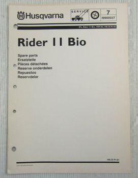 Husqvarna Rider 11 Bio Rasentraktor Ersatzteilbildkatalog Ersatzteilliste 4/1999