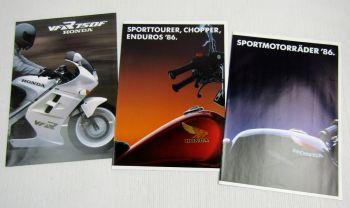 3 Prospekte Honda VFR750F VF NS CBX XBR VTCM XL Sporttourer Chopper Enduro 86