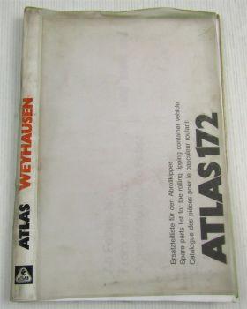 Atlas 172 Abrollkipper Ersatzteilliste Ersatzteilkatalog Parts List Catalogue 89