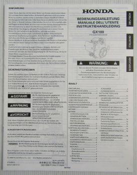 Honda GX100 Motor Betriebsanleitung Bedienung Instruktiehandleiding 2009