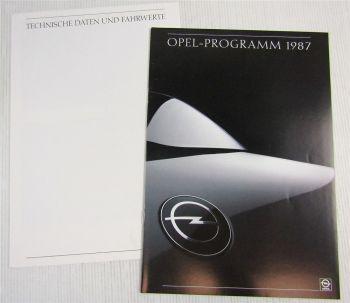 Prospekt Opel Programm 1987 Kadett GSi Manta Ascona Omega Senator Corsa GT
