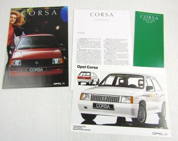 2 Prospekte Opel Corsa A u Tuning Zubehör + Preisliste 1/90 + Technische Daten