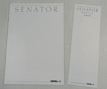 1 Prospekt Broschüre Opel Senator B 12/1990 technische Daten + Preisliste 3/1991