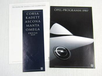 Prospekt Opel Programm 1987 Corsa Kadett Omega Ascona Manta + Preisliste 3/87