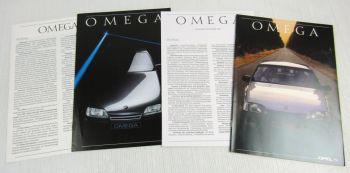 2 Prospekte Opel Omega A1 + Technische Daten / Ausstattung von 1986 und 1989