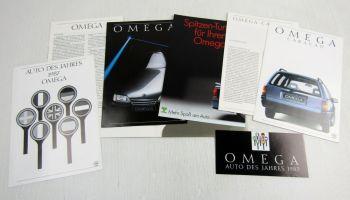 5 Prospekte Opel Omega A1 Caravan Tuning von 1986 und 1987 + Datenblätter