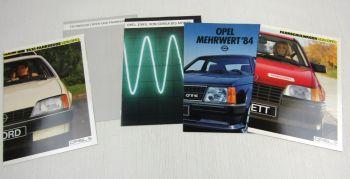 5 Prospekte Opel Ascona Corsa Kadett Rekord Senator Monza Fahrschule Taxi 1985