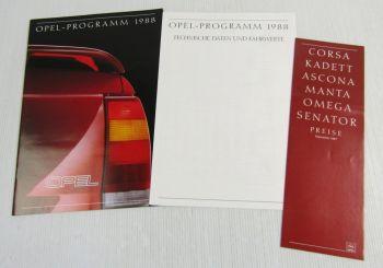 5 Prospekte Opel Programm 1988 Senator Omega Kadett Corsa + Preisliste 9/1987