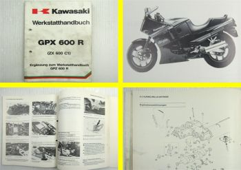Kawasaki GPX600R ZX600 C1 Ninja Werkstatthandbuch Ergänzung zu GPZ600 R