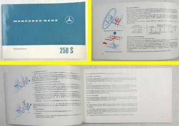 Mercedes Benz 250S W108 Betriebsanleitung Bedienungsanleitung Original 1965
