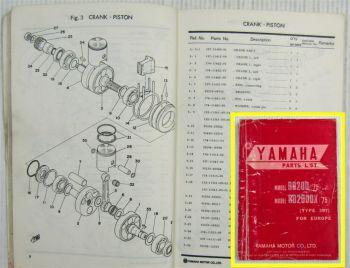 Yamaha RD200 RD200DX Type 397 MJ 75 for Europe Parts list Ersatzteilliste 3/1975