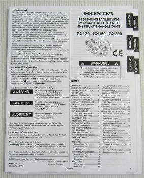 Honda GX 120 160 200 Motor Bedienungsanleitung Manual Instruktiehandleiding