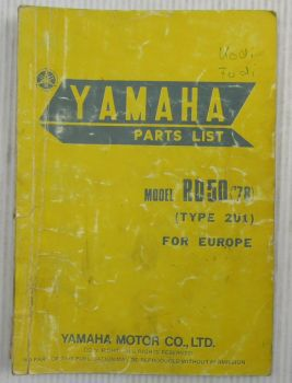Yamaha RD50 Model Year 1978 Type 2U1 for Europe Spare Parts List Catalog