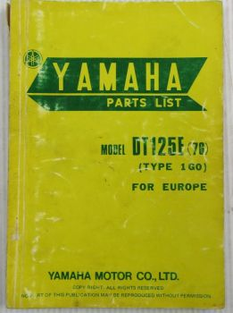 Yamaha DT125E Model Year 1976 Type 1G0 for Europe Spare Parts List Catalog