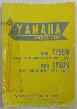 Yamaha TY50M Type 1G3 for Germany / 1G6 for Belgium Spare Parts List Catalog