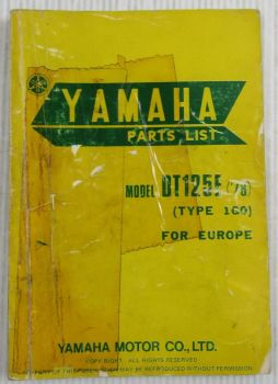 Yamaha DT125E Model Year 1978 Type 1G0 for Europe Spare Parts List Catalog