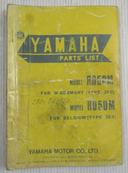 Yamaha RD50M Type 2E0 for Germany / 2E3 for Belgium Parts List edition 5/77