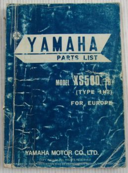 Yamaha XS500 Model Year 1978 Type 1H2 for Europe Spare Parts List Catalog