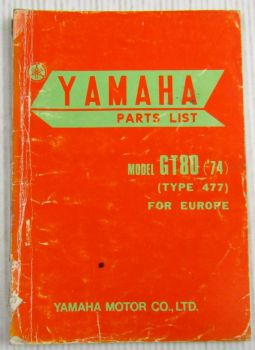 Yamaha GT80 Model Year 1974 Type 477 for Europe Spare Parts List Catalog