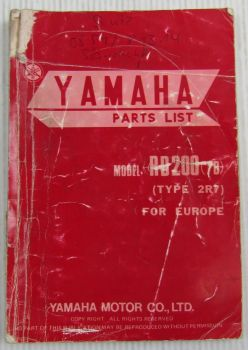 Yamaha RD200 Model Year 1978 Type 2R7 for Europe Spare Parts List Catalog