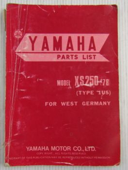 Yamaha XS250 Model Year 1978 Type 1U5 for W. Germany Spare Parts List Catalog