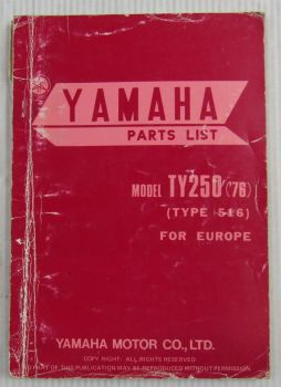 Yamaha TY250 Model Year 1976 Type 516 for Europe Spare Parts List Catalog