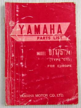 Yamaha DT175 Model Year 1974 Type CT1 for Europe Spare Parts List Catalog