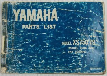 Yamaha XS750 Model Year 1979 Type 3G9 for Europe Spare Parts List Catalog