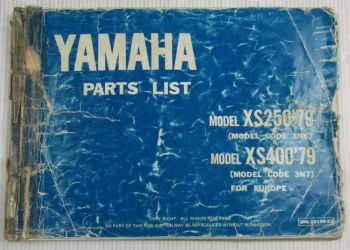 Yamaha XS 250 400 Model Year 1979 Type 3N6 3N7 for Europe Parts List Catalog