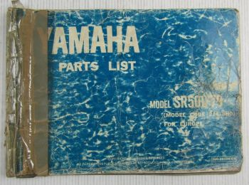 Yamaha SR500 Model Year 1979 Type 2J4 and 3H0 for Europe Parts List Catalog