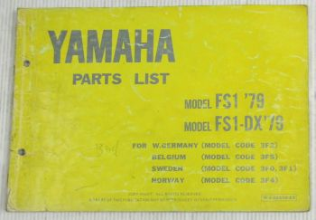 Yamaha FS1 FS1-DX Model Year 1979 Type 3F2 3F5 3F0 3F1 3F4 Parts List Catalog