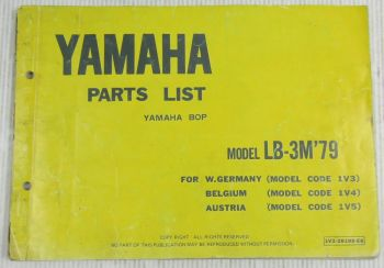 Yamaha Bop LB-3M Model Year 1979 Type 1V3 1V4 1V5 Spare Parts List Catalog