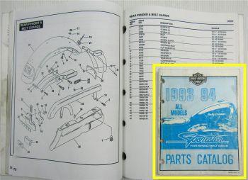 Harley Davidson XLH 883 1200 Sportster Models 5-speed Parts Catalog List 1993/94