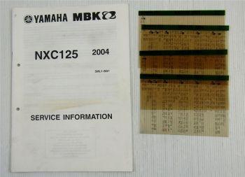 Yamaha NXC125 2004 Service Information + Wartungsanleitung Reparaturanleitung
