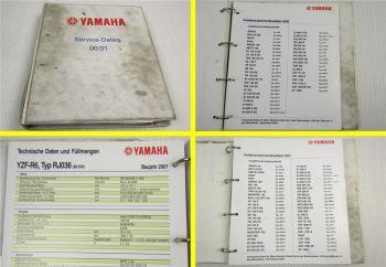 Yamaha Service Daten 2000 2001 - 70 Inspektionsblätter Zweirad Inspektionsblatt