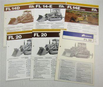 6 Prospekte Technische Daten Fiat-Allis Laderaupen FL wohl  aus den  80er Jahren