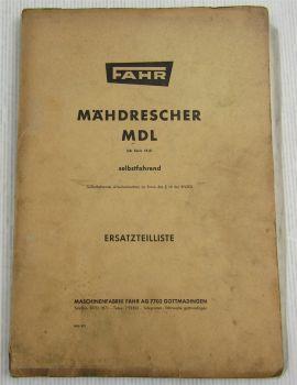 Fahr MDL ab Serie 18A Mähdrescher Ersatzteilliste Ersatzteilkatalog 1967