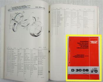 Deutz D 3006 Traktor Ersatzteilliste Spare Parts Book 1980