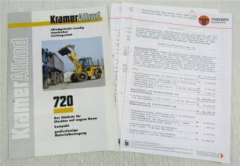 Prospekt Technische Daten Kramer Allrad 720 Schaufellader 2/98 + Preisangebot