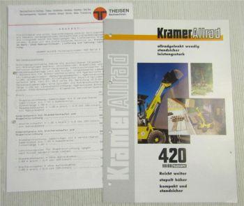 Prospekt mit Technischen Daten Kramer Allrad 420 Telescopic 9/98 + Preis Angebot