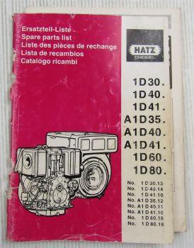 Hatz 1D 30 40 41 60 80 A1D 35 40 41  Dieselmotor Ersatzteilliste Parts List 1994