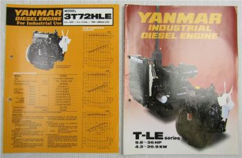 2 Prospekte Brochures with Technical Data Yanmar Diesel Engine T-LE series + HLE
