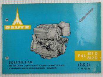 Deutz F4L811D + F4L812D Ersatzteilliste Spare Parts List Ausgabe 1967