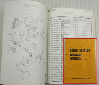 Nissan Kizai N230-2 N260-2 Excavator Parts Catalog Spare Parts List Oct. 1989