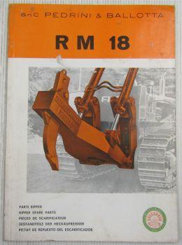 Pedrini & Ballotta RM18 Heckaufreißer für Dozer Fiat AD BD 18 Ersatzteilliste