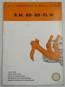 Pedrini & Ballotta RM10 Heckaufreißer für Dozer Fiat AD BD FL 10 Ersatzteilliste